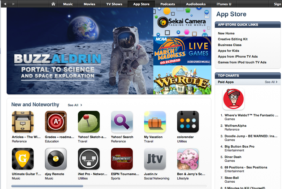 Buzz Aldrin Featured on iTunes